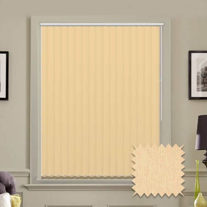 Made to measure vertical blinds in Guardian cream plain fabric - Just Blinds